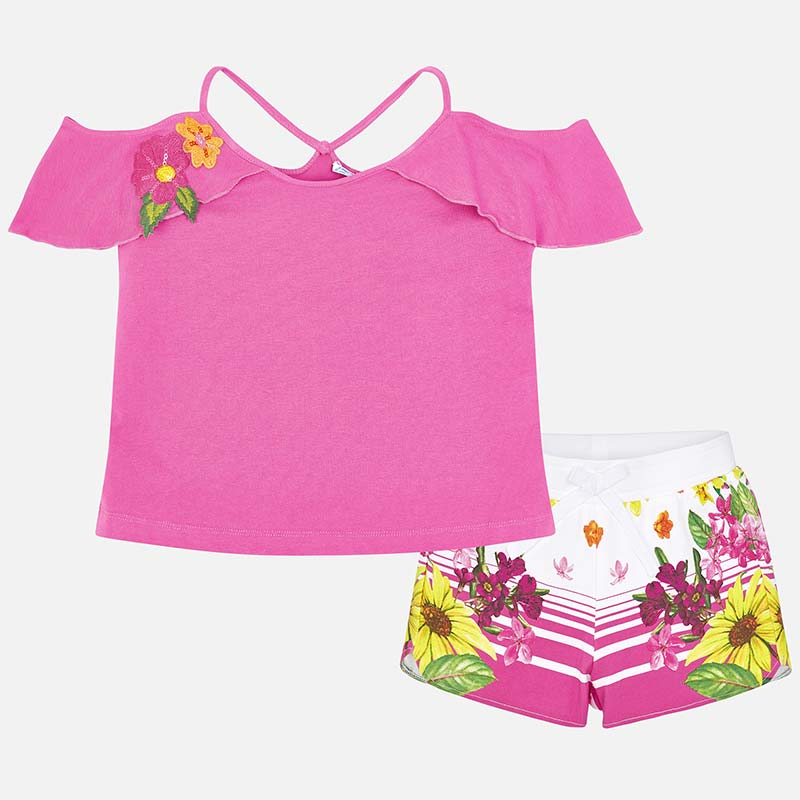 1fb9c6e3c8c7 Completo shorts e top off-shoulder bambina Orchidea - Mayoral