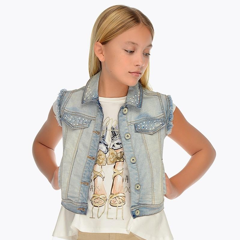 3b25868b1b Sleeveless denim jacket for girl Bleached - Mayoral