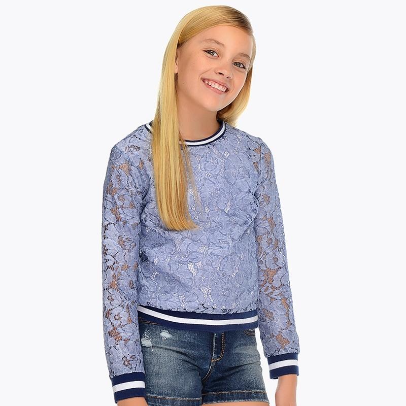 8f4efb47c828 Φούτερ δαντέλα κορίτσι Μπλε - Mayoral