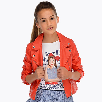 4acdd85e4 Leatherette jacket with lapel collar for girl