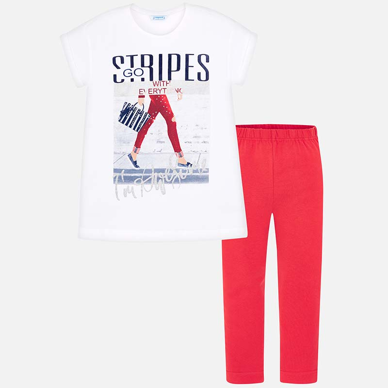 1932f4650 Conjunto camisola e leggings STRIPES menina Persimón - Mayoral