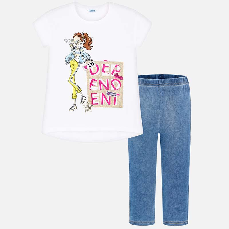 081b257a0 Conjunto jeggings y camiseta muñeca niña Tejano Claro - Mayoral