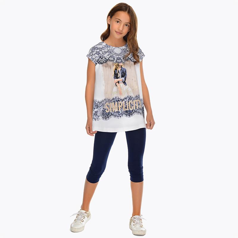 8a52b69ea4ea Σετ κολάν και μπλούζα εφέ δαντέλα κορίτσι Ναυτικό μπλε - Mayoral