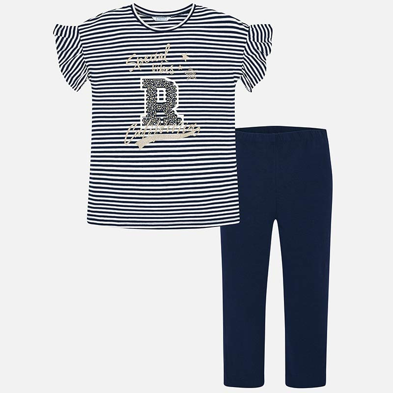 517606da0 Striped t-shirt and leggings set for girl Navy blue - Mayoral