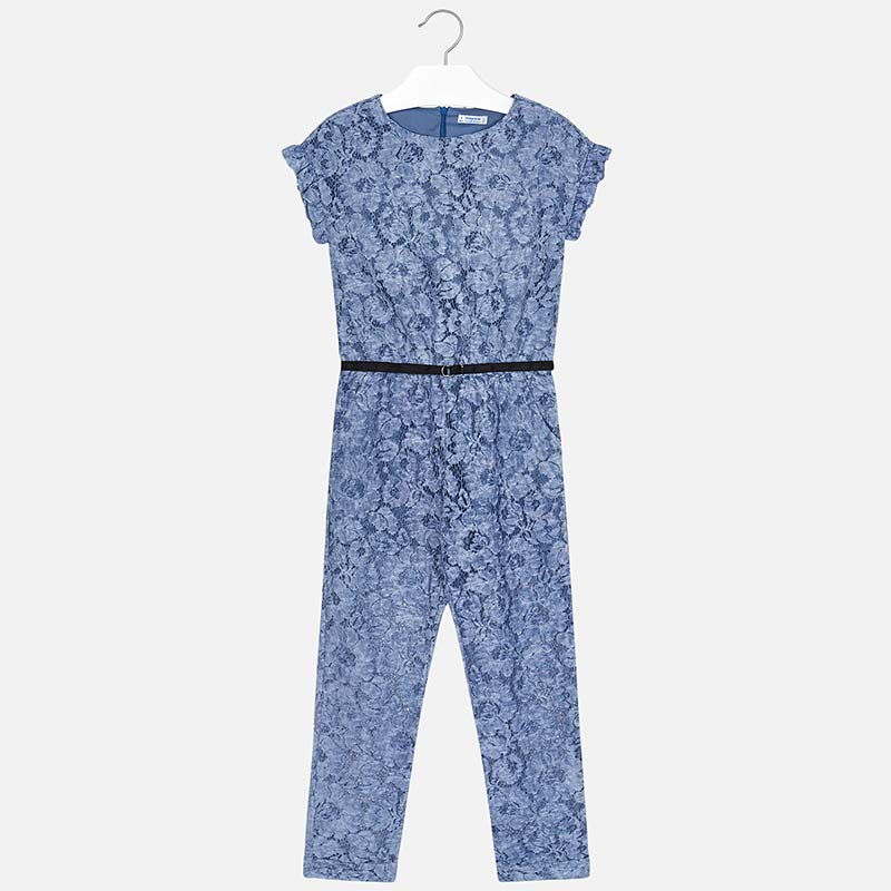 0724830c8c Lace jumpsuit with belt for girl Blue - Mayoral