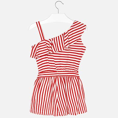 15fdcc1c29 Asymmetric striped playsuit for girl Persimmon - Mayoral