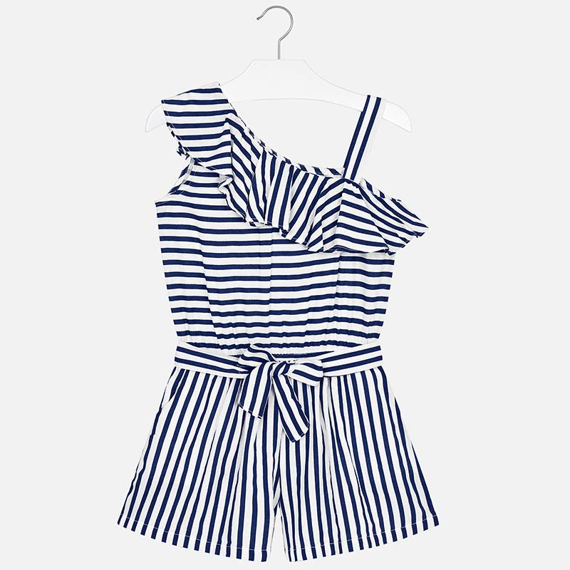 2979f47090 Asymmetric striped playsuit for girl Navy blue - Mayoral