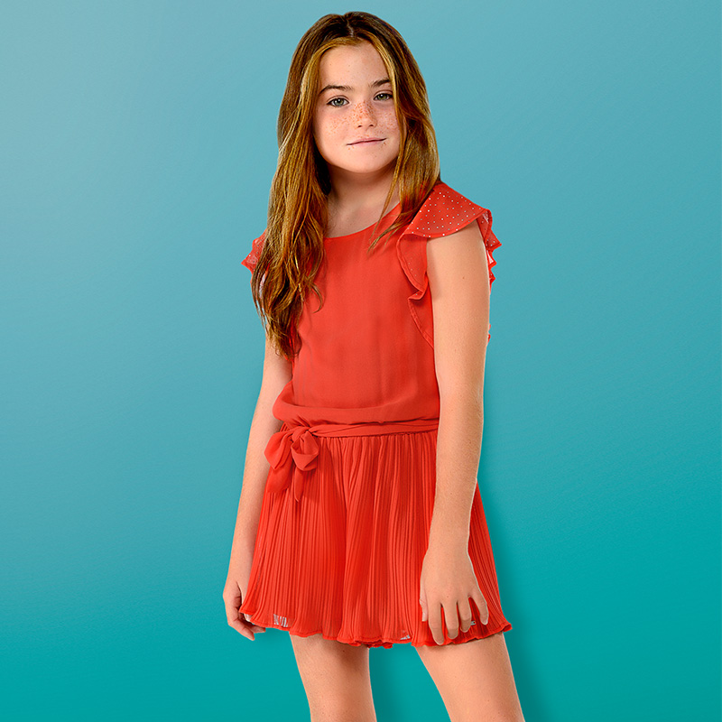 038232100d Chiffon playsuit for girl Persimmon - Mayoral