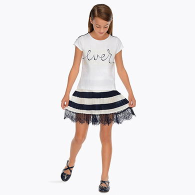6a250b8f4b Pleated striped skirt for girl