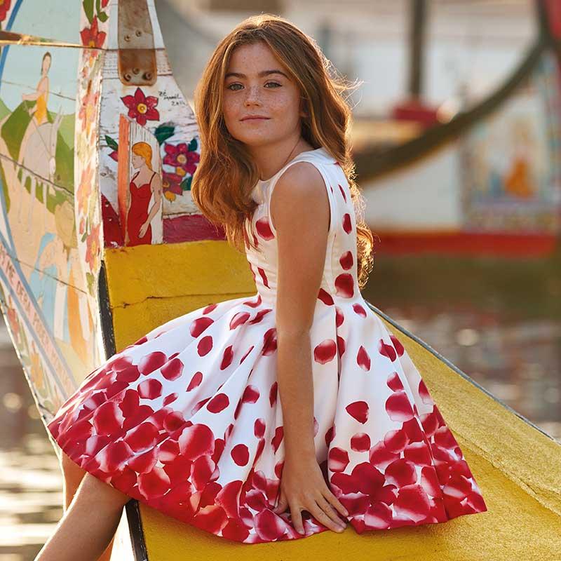 9a192f3ada7c Vestito stampato petali bambina Rosso - Mayoral