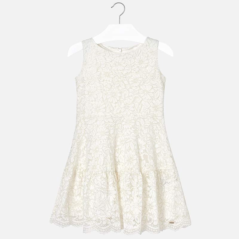 cb430d7a6c22 Φόρεμα δαντέλα κορίτσι Εκρού - Mayoral
