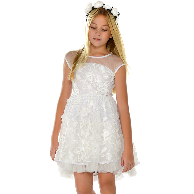 707f2d2f40d Tulle dress with embroidered flowers for girl White - Mayoral