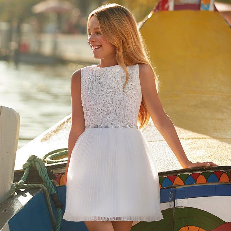 Vestido plissado com corpo de renda menina Branco
