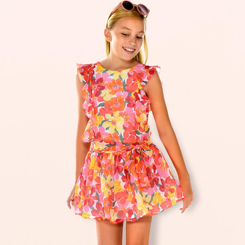 e0be9d604 Vestido gasa flores niña Coral - Mayoral