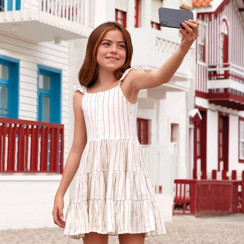 54648c3d9 Vestido tirantes rayas niña Tostado - Mayoral