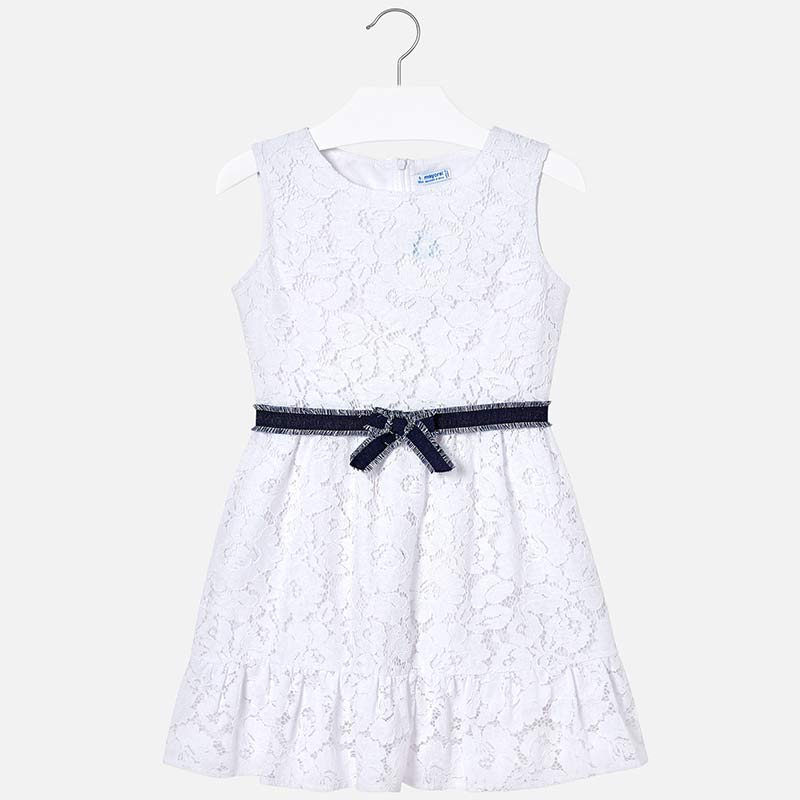 bce3382796 Lace dress with belt for girl White - Mayoral