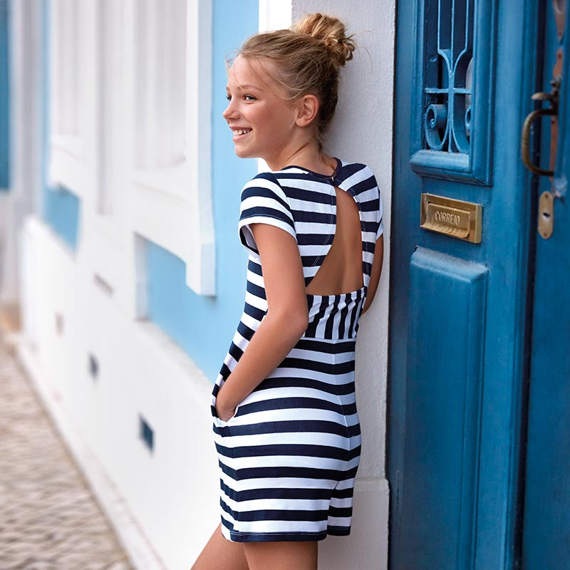36ea945ae2 Open back striped dress for girl Navy blue - Mayoral