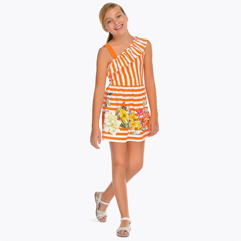 9f4901d49 Vestido escote asimétrico rayas niña Mandarina - Mayoral
