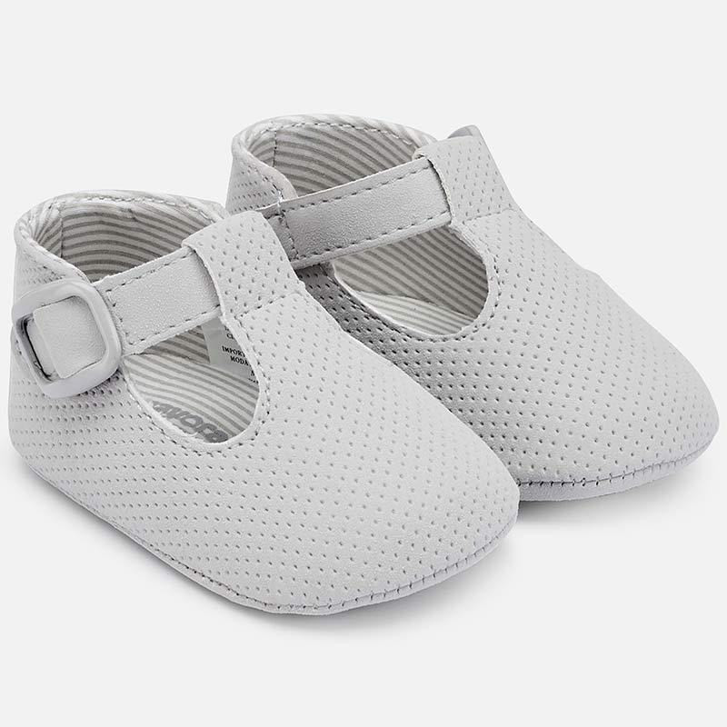 fbd7a4b9d256 Leatherette shoes for newborn boy Silver - Mayoral
