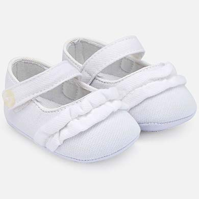 16c0161827ac9 Mary Jane applique ruffle shoes for newborn girl