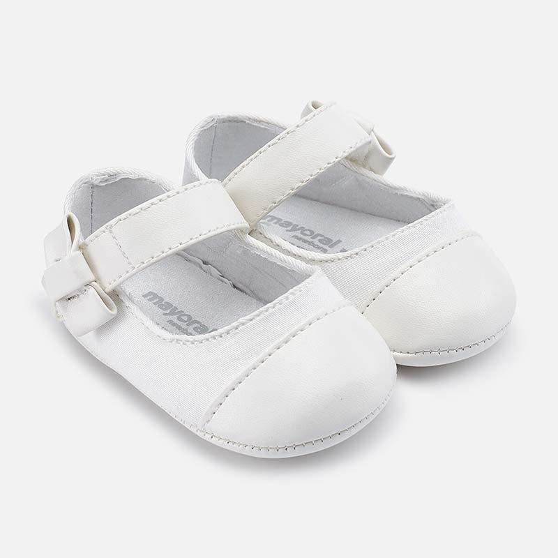49064704736fe Metallic toe Mary Jane shoes for newborn girl White - Mayoral