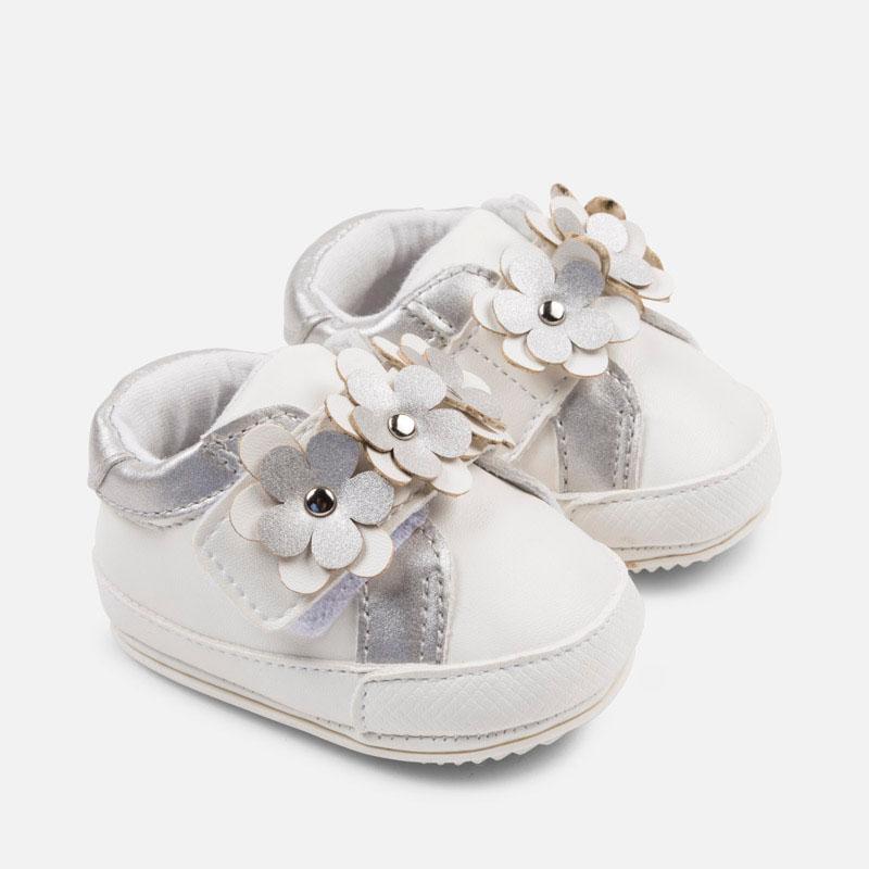 Sapatilhas desportivas flores bebé recém nascida Branco - Mayoral 338a7e4d2251a