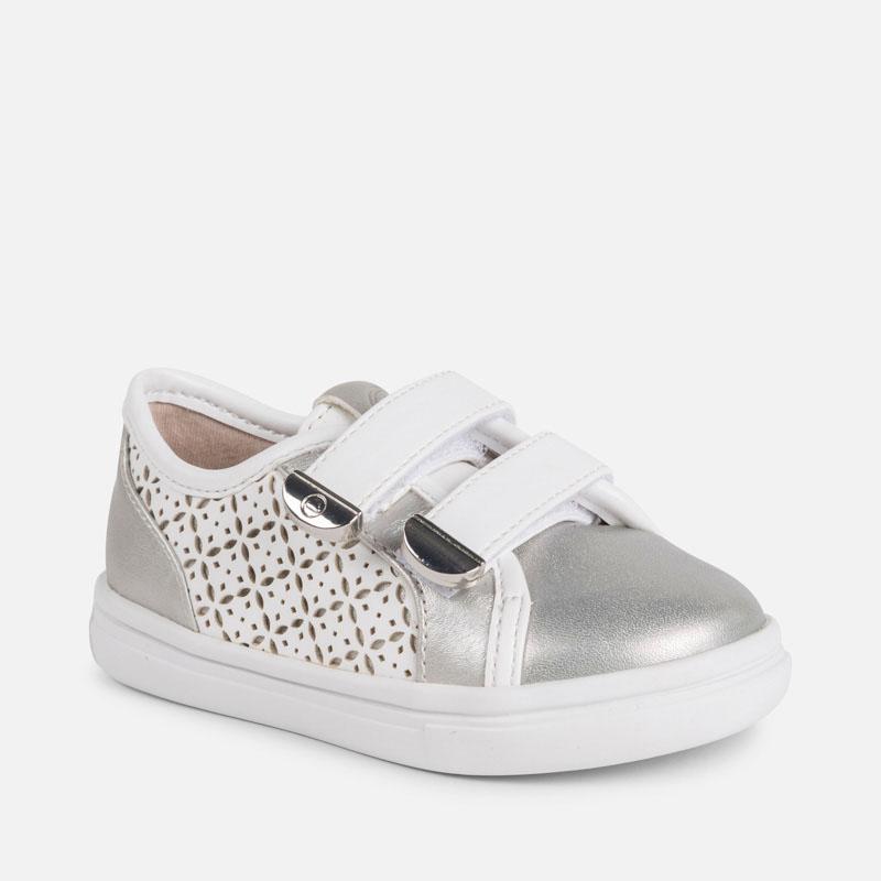 308388ff3 Zapatillas casual metalizadas bebé niña Blanco-Plata - Mayoral