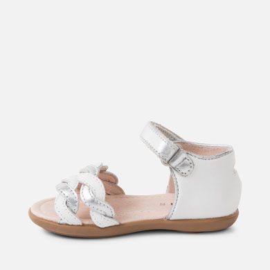 30e55da74901 Plaited leather sandals for baby girl White-Silver - Mayoral