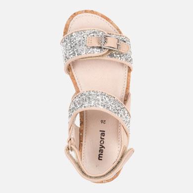 e28d00d87f18 Glitter platform sandals for girl Natural - Mayoral