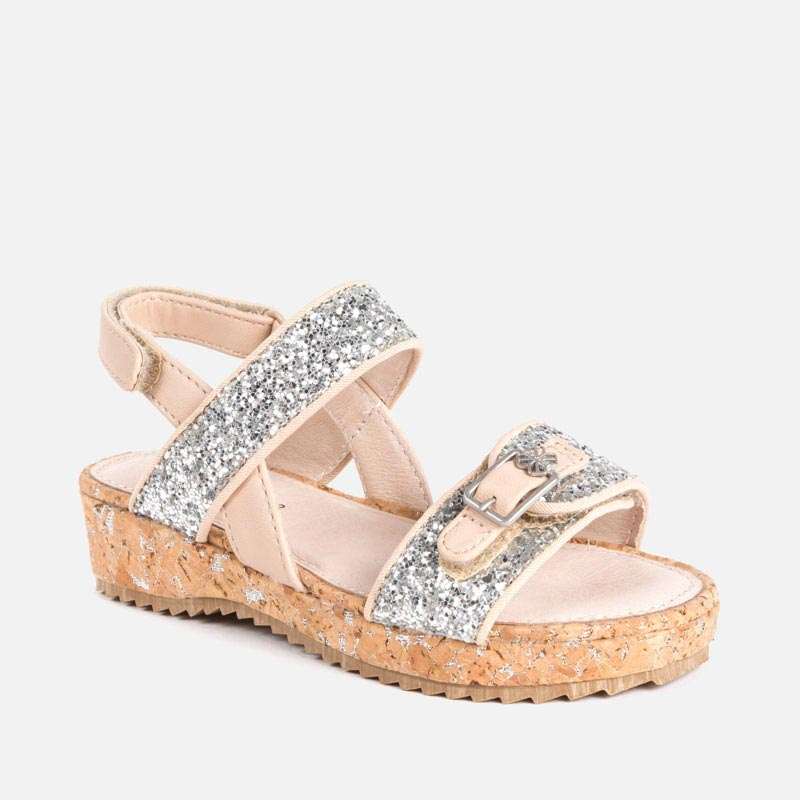 824cf624bf36 Glitter platform sandals for girl Natural - Mayoral