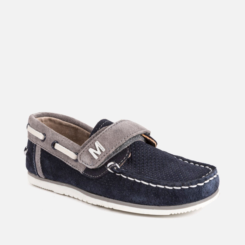 db9de64c8b43 Split leather boat shoes for boy Navy blue - Mayoral