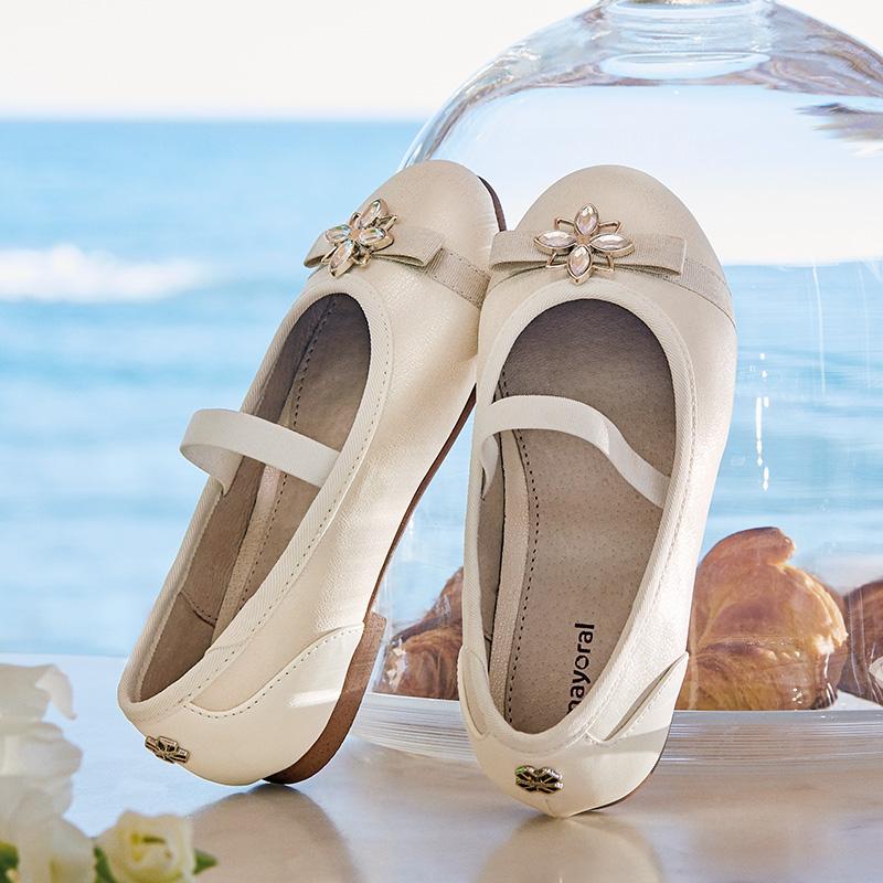 46480e0e650b Formal ballerina pumps for girl Nacre - Mayoral