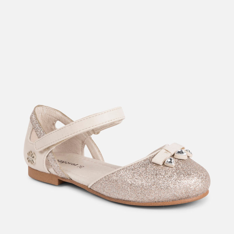 974722af3 Half-open Mary Jane glitter shoes for girl Champagne - Mayoral