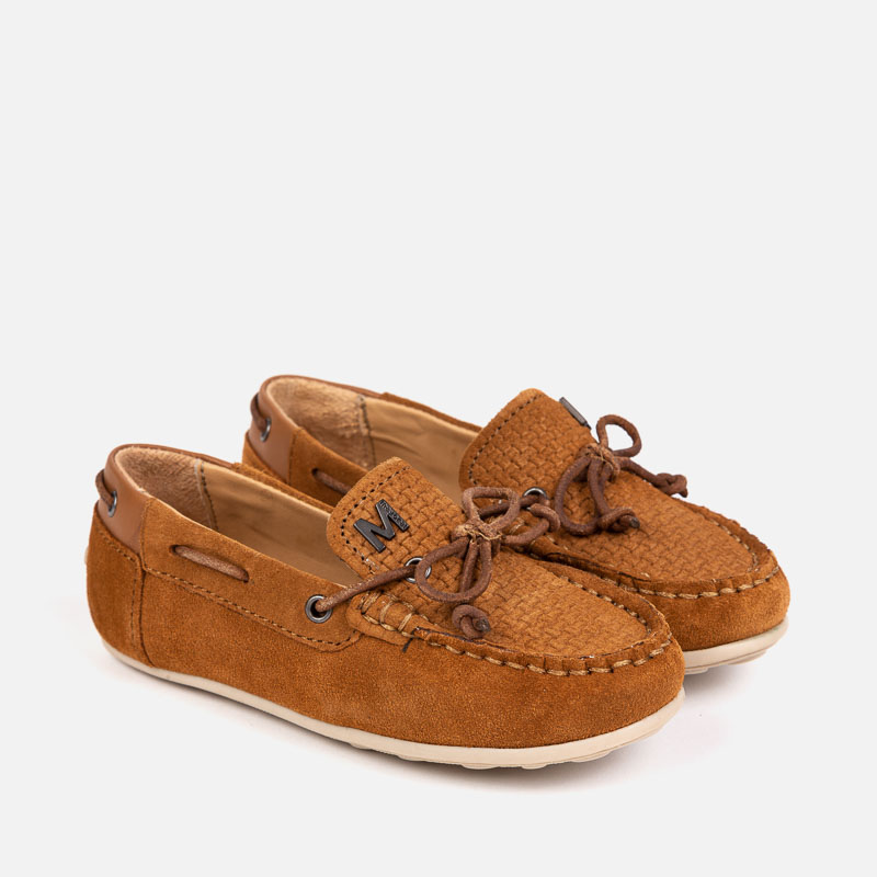6b2f7c451f5 Split leather moccasins for boy Camel - Mayoral