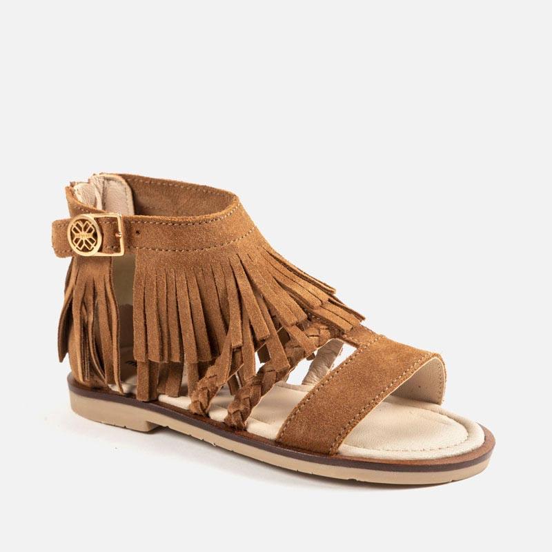 64e4aa1e27011 Sandały skórzane z frędzlami dla dziewczyny Kamel - Mayoral