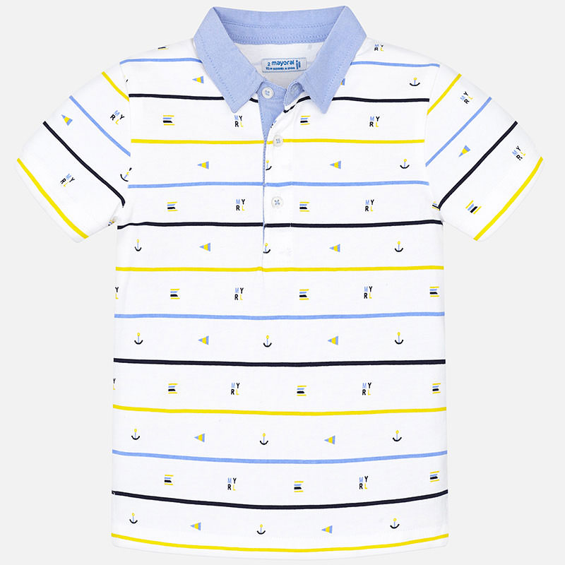 c4f6d5bb5 Short sleeved polo shirt with mini-pattern for boy White-Lemon - Mayoral