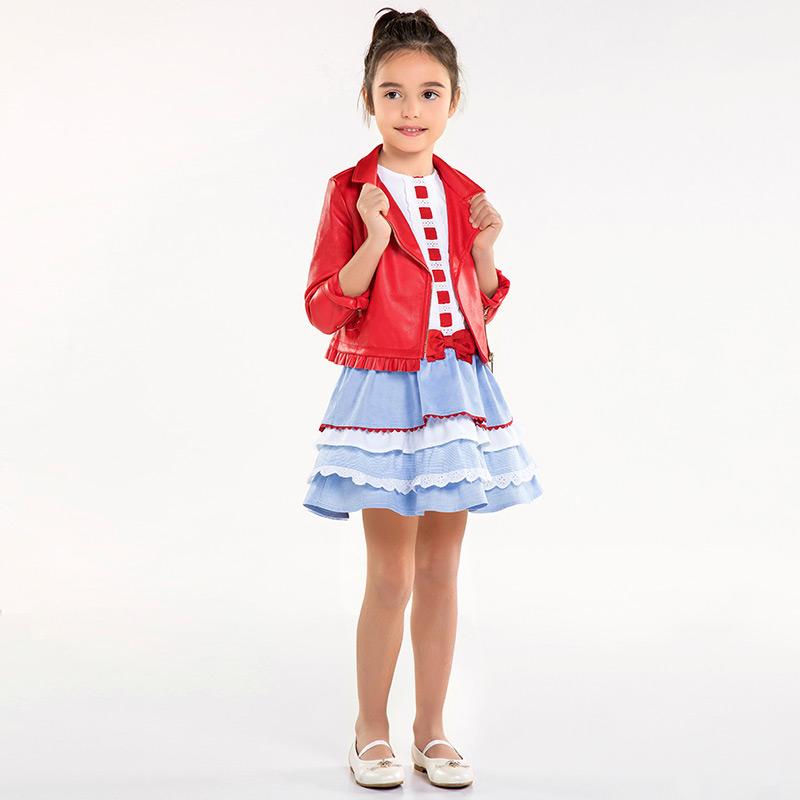 a887872a77ec Vestito con volant bambina Bianco-Lavanda - Mayoral