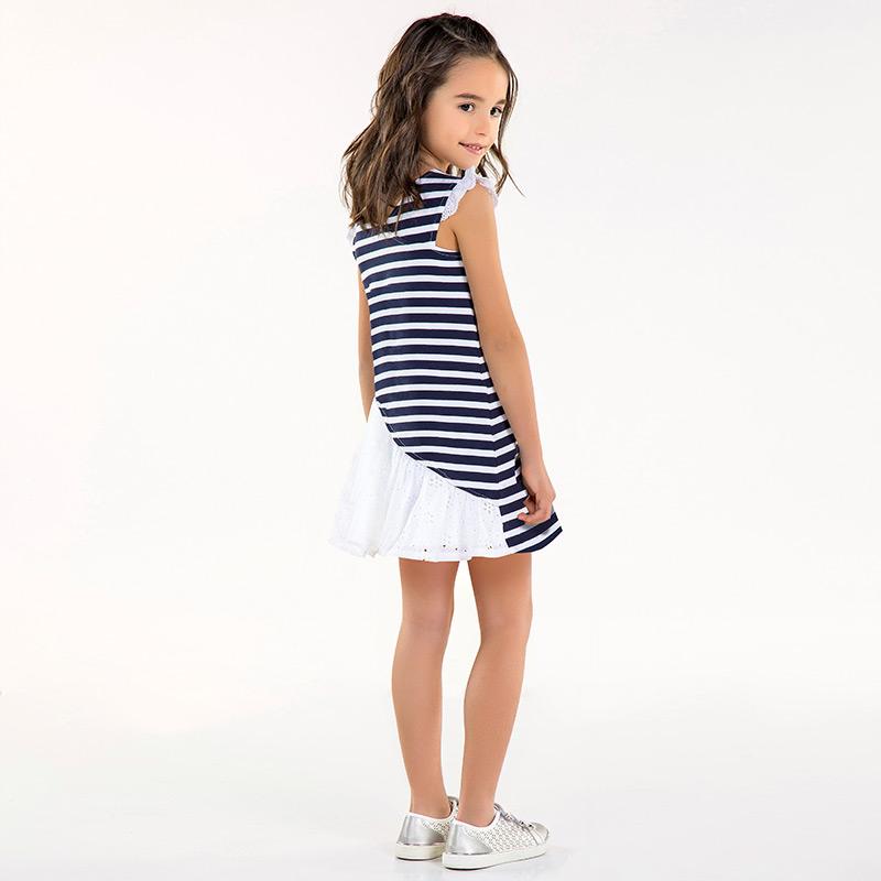 04e5ef09f1d3 Φόρεμα βολάν στην πλάτη κορίτσι Ναυτικό μπλε-Άσπρο - Mayoral
