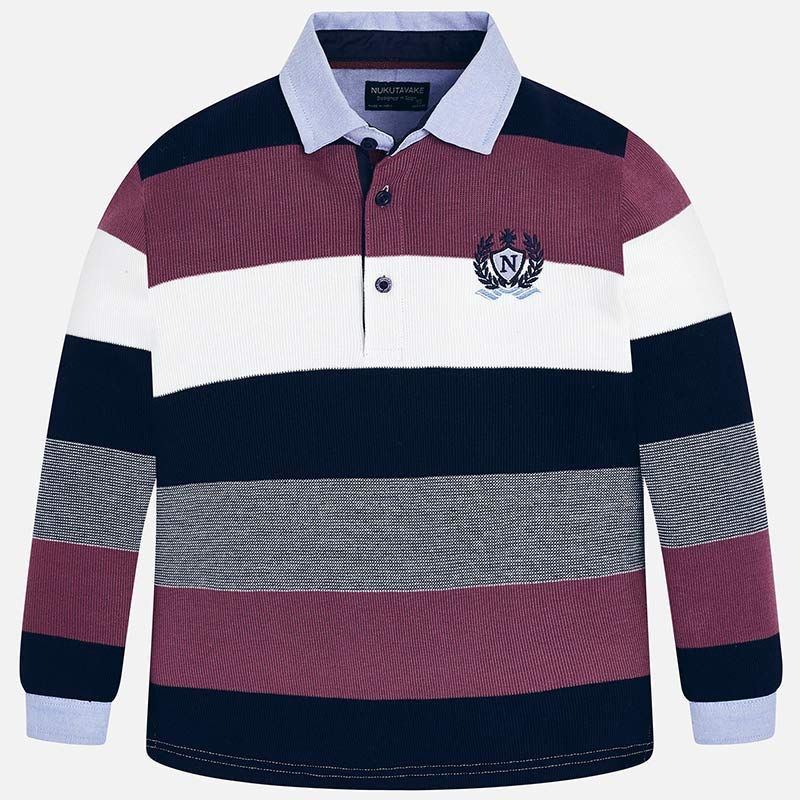 3f73bc2c Long sleeved striped polo shirt Navy blue - Mayoral