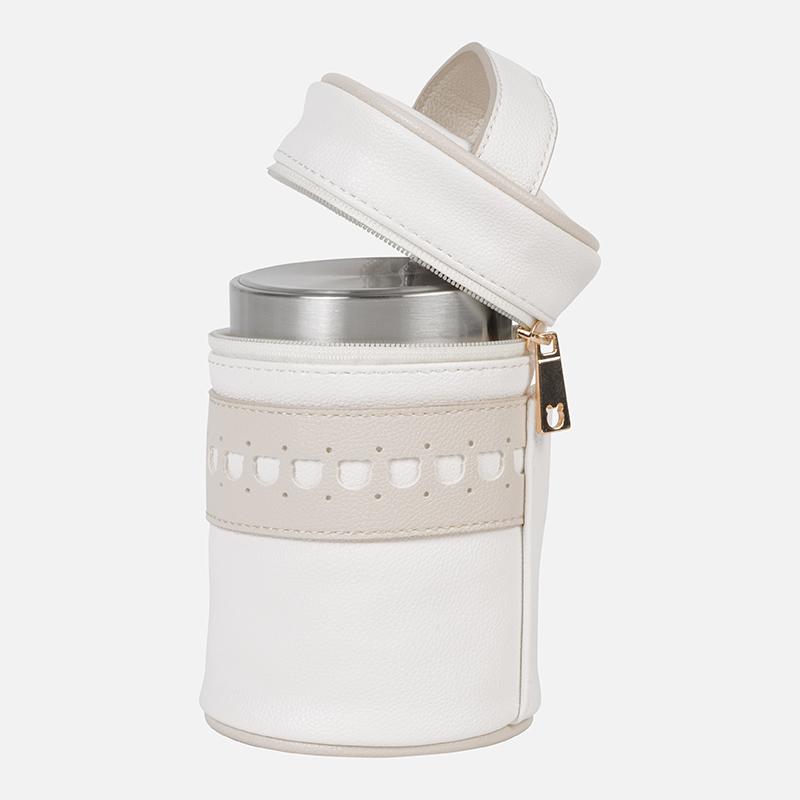 Thermos nourriture pour bébé en similicuir avec fermeture éclair Ecru -  Mayoral