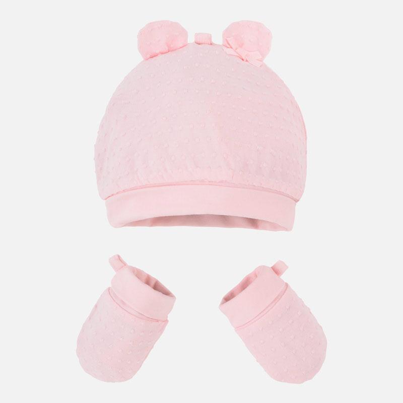 440e60c71496d Conjunto gorro con orejitas y manoplas bebé recién nacido Rosa Baby ...