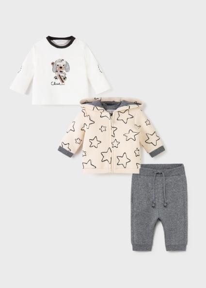 Dres 3 częściowy dla noworodka chłopca Szary mix
