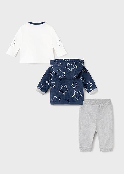 Dres 3 częściowy dla noworodka chłopca Szary melanż