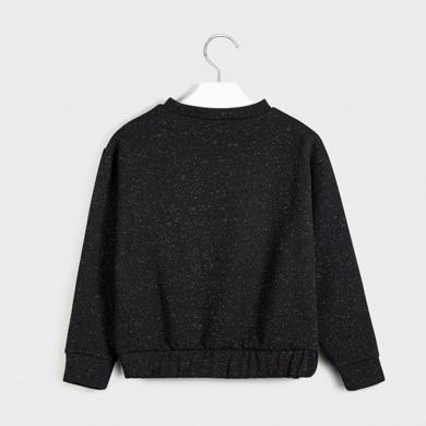 Fleece sweatshirt for girl Negro lurex | Mayoral