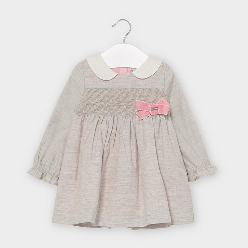 Kleid Flanell gepunktet Baby Mädchen Grau vigoré | Mayoral