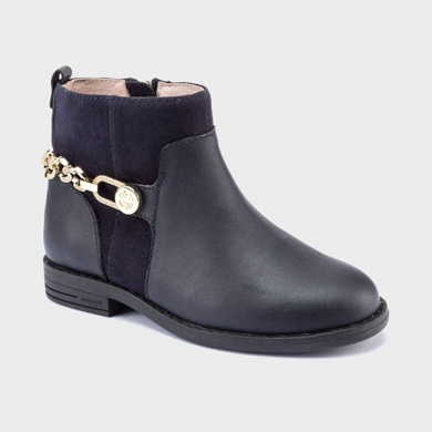Leather boots with chain for girl Navy