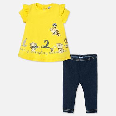 Leggings Set Baby Girl Yellow Mayoral