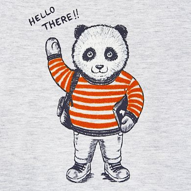 Long sleeved panda t shirt for baby boy Grey | Mayoral