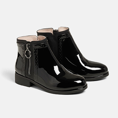Patent leather ankle boots girl Black