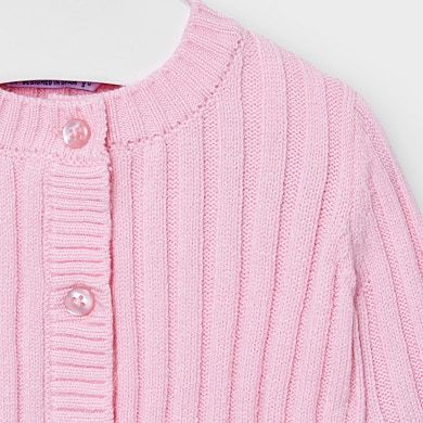 Ribbed knit cardigan for baby girl Pink | Mayoral